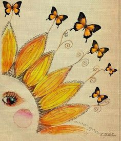 Butterflies, Love and Summer, CBS Sunday Morning Celestial Art, Moon Art, Sun Painting, Drawings, Whimsical Art, Sunflower Art, Art, Canvas Art, Moon Stars Art