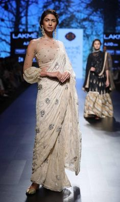 Kotwara saree with sheer blouse- Lakme Fashion Week - SR 17 - 9 Full Sleeves Blouse Designs, Netted Blouse Designs, Fancy Blouse Designs, Saree Draping Styles, Saree Styles, Sari Bluse, Indie Mode, Net Blouses, Chiffon Blouses