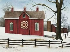 "Beautiful barn quilt in the snow, this would make a good "" Grandma Moses""  painting."