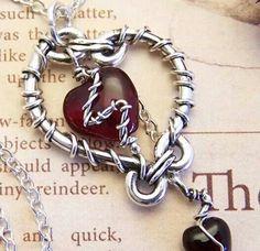 Barb wire heart pendant
