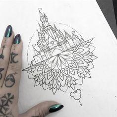 Disney Tattoos Klein, Disney Tattoos Small, Disney Sleeve Tattoos, Small Hand Tattoos, Tattoo Disney, Disney Mandala Tattoo, Disney Tattoos Castle, Disney Tattoos Thigh, Disney Inspired Tattoos