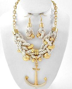 NAUTICAL ANCHOR DESIGN CREME GOLD PREMIER PARK ROPE LANE TWISTED NECKLACE SET