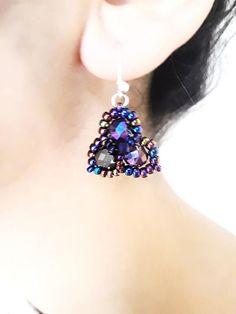Boucles d'oreilles perles violet fait main pour femme