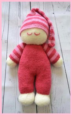 Knitting pattern instructions to knit a simple dolly looking cute in two shades of pink ready for bed in a striped hat yarn double knitting cream light pink and dark pink oddment of black for eyes toy stuffing needle size single point needlesma Knitted Doll Patterns, Easy Knitting Patterns, Knitted Dolls, Free Knitting, Knitting Projects, Crochet Toys, Baby Knitting, Crochet Patterns, Knitted Baby