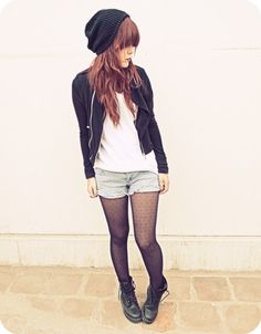 "Fall Outfit: ""Punk and Chic""... Black Beanie + Black Leather Jacket + White Slouchy/Loose-fitting Tee/T-Shirt + Light Wash Denim Shorts + Sheer Black Tights + Black Lace-Up Boots"