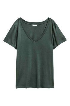 T-shirt com decote em V - Verde escuro - SENHORA | H&M PT 1