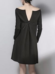 Black Bateau/boat Neck Cutout Back Belts Plain Midi Dress