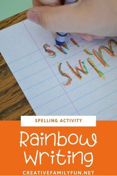Practice spelling words with rainbow writing, a simple activity for any list of words. #spelling #education #kids #literacy