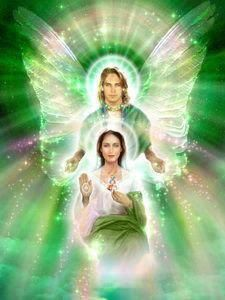 Archangel Raphael works with the emerald green ray with healing as its focus. His temple of Light is situated over Fatima, in Portugal. Guardian Angel Images, Guardian Angels, Angel Pictures, Jesus Pictures, Mary Magdalene And Jesus, Temple Of Light, Twin Flame Love, Angel Prayers, I Believe In Angels