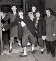 thesassyswingdancer:  Girls being kicked out of school for wearing slacks; 1946