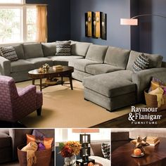 Split Complementary | The trick when decorating with this color scheme is to make sure all three tones are  represented but not allowing one to overpower the other. - I really like this couch for the family room.