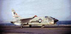 VF-24 F-8J traps on USS Hancock CVA-19 ca 1972