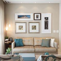 Living, conjunto de quadros, pendentes , papel de parede. Guidugli Design
