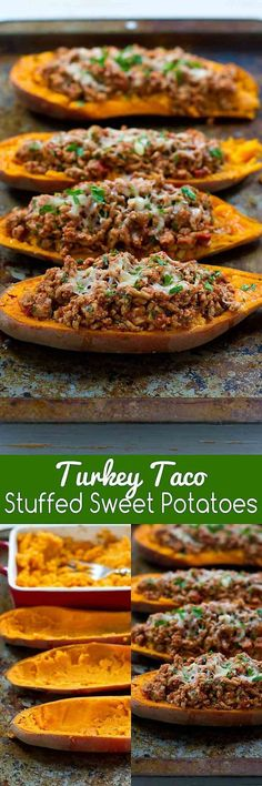 These Turkey Taco Stuffed Sweet Potatoes are a fantastic option … 20 minute meal! These Turkey Taco Stuffed Sweet Potatoes are a fantastic option when you need a quick dinner recipe. 234 calories and 6 Weight Watchers SmartPoints Paleo Recipes, Mexican Food Recipes, Cooking Recipes, Healthy Turkey Recipes, Soup Recipes, Dessert Recipes, Healthy Cooking, Healthy Snacks, Healthy Eating