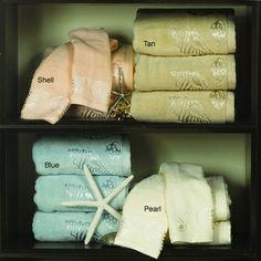 Lenox Sea Side Bath Towels (Set of Bath Towel Sets, Bath Towels, Decorative Hand Towels, Sea Side, Blue Pearl, Cotton, Decorative Towels, Decorative Bathroom Towels