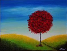 """BUZZI abstrakt  """" Roter Baum in der Landschaft"""" von Licht & Schatten auf DaWanda.com"""