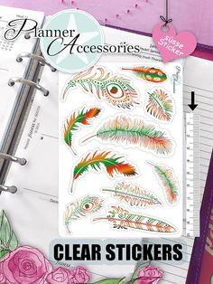Clear Feather Stickers Boho Stickers Feather von EmelysPlannerShop