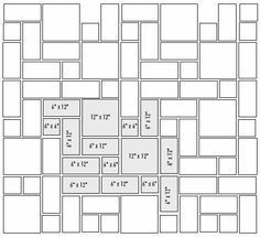 Vectored tile pattern using 3 sizes Paver Patterns, Paving Pattern, Floor Patterns, Garden Paving, Concrete Garden, Wall Cladding Tiles, Paver Blocks, Versailles Pattern, Paving Ideas