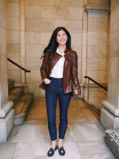 Zara Leather Jacket LOFT Skinny Jeans Everlane Silk Shirt Stubbs and Wootton Shoes Hermes Bracelet J Crew Cashmere Cardigan Classy Outfits, New Outfits, Fall Outfits, Casual Outfits, Fashion Outfits, Milan Fashion Weeks, New York Fashion, London Fashion, Capsule Wardrobe