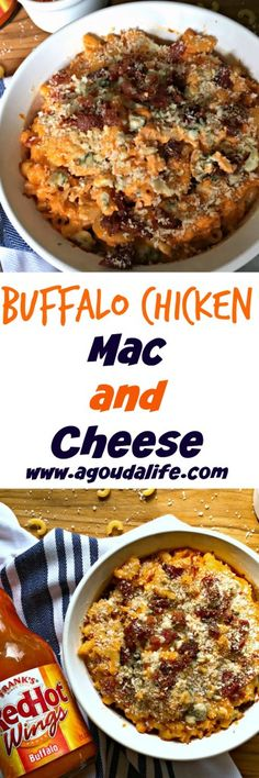 Chicken and macaroni in a creamy, cheesy, spicy buffalo sauce topped  with blue cheese and bacon ~ yes bacon too! ~ and Pankow breadcrumbs for a little toasted crunch. Go ahead. Makes your dreams come true.