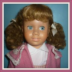 Dee N Cee Chatty Doll -Blonde Piggy - Glassiene Eyes Canadian 1960's - Doll-lighted To Meet You! #dollshopsunited