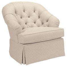 Ethan Allen Colby Swivel Rocker .. add a different color, decorative pleat and button tufting. The perfect chair for me.