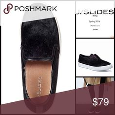 """JSLIDES Genuine Cow Hair SLIP ONS SNEAKERS LEATHER COW HAIR STYLISH SNEAKERS Slip Ons Flats 💟NEW WITH TAGS💟 RETAIL PRICE: $110  Stylish Sneakers Slip Ons   * Slip-on sneaker style & round toe  * Stretch on goring   * Allover genuine black 'pony cow' hair  * Approx 1"""" platform sole  * Non-marking rubber low ballet flat style  * True to size  * Contrast bumper  Material: Genuine cow hair & rubber sole  Color: Black Pony, White Item:  FLATFORM ballet flat wedge 🚫No Trades🚫 ✅ Offers…"""