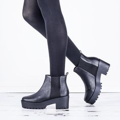 e66568cc022 ... Black Leather Style. See More. Spy Love Buy ADELAIDE Block Heel Cleated  Sole Platform Chelsea Ankle Boots  Amazon.ca