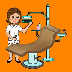People Clip Art Of A Dentist Dental Hygienist Technician Or Assistant Standing By Chair And Equipment