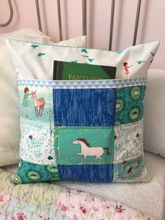 Wee Wander Summer Ride Book Pocket Pillow Cover by ZeedleBeez on Etsy