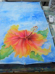 Silk Painting Demo with Marionette from Kauai, Hawaii Hibiscus http://www.kauai-artist.blogspot.com/2015/06/kauai-silk-painting-class-with.html