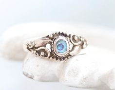 Abalone Sea shell and Sterling Silver Vintage Boho Ring  Size