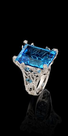 Master Exclusive Ring 7050.  Collection: Solo - 18K white gold, topaz 29,80 ct, diamonds, topaz.