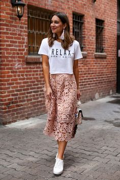 15 skirt and sneakers outfits you should try to be stylish and comfortable all day - Skirt Outfits Mode Outfits, Casual Outfits, Fashion Outfits, Fashion Clothes, Style Clothes, Women's Clothes, Dress Fashion, Fashion Boots, Sneakers Fashion