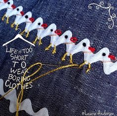 What a cute way to transform rick rack for an apron or or a child's skirt or dress. SewNso's Sewing Journal: Cluck-Cluck Rick Rack Jumper