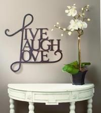 Live, Laugh, Love Wall Art  (Antique Copper Metal Scripted Live, Love, Laugh Word Art is cleverly designed to spread the love. This piece easily mounts to the wall. Inspirational and perfect for any home or store.)