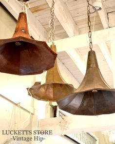 Light fixtures made from vintage phonograph parts...The Old Lucketts Store