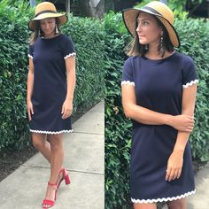 Jude Connally Ric-Rac Ponte Dress in Navy Ribbon Diy, Cute Shorts, Going Out, Short Sleeve Dresses, Shirt Dress, Boutique, Navy, Sewing, My Style