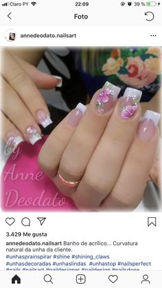 French Nail Designs, Cute Nail Designs, Acrylic Nail Designs, Nail Polish Designs, Fancy Nails, Cute Nails, Pretty Nails, Spring Nails, Summer Nails