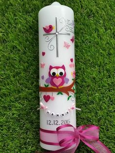"""Taufkerze Owl """"The original ©"""" with string of letters Candels, Pillar Candles, Wax Strips, Letter Beads, Heart Crafts, Pink Glitter, Voss Bottle, Christening, Owl"""