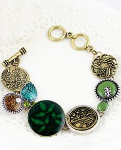 Retro Gold Leaf Round Metal Link Bracelet #SheInside
