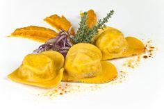 Heart shaped fresh filled pasta
