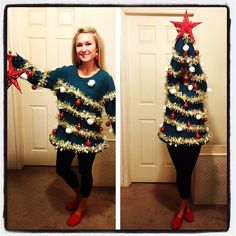 Ugly Christmas Sweater / Ugly Christmas Tree Sweater - Ugly Christmas Sweater Party - Womens - Funny Xmas Sweater - by on Etsy Best Ugly Christmas Sweater, Winter Christmas, Holiday Sweaters, Christmas Time, Christmas Tree Outfit, Christmas Tree Costume Diy, Ugly Sweaters Diy, Merry Christmas, Diy Christmas Outfits