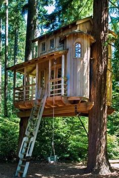 Discover a dwelling within the birds and branches with the top 60 best treehouse ideas. Explore cool wooden wonders and unique backyard designs. Building A Treehouse, Treehouse Ideas, Treehouses For Kids, Backyard Treehouse, Treehouse Living, Treehouse Cabins, Tree House Plans, Tree House Homes, Tree House Deck