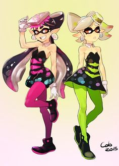 Dessin : Ma petite sélection spéciale Splatoon Callie (on the left) is my favorite Squid Sister!