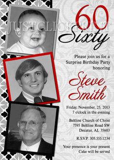 Damask Adult 30th 40th 50th 60th 70th Red Black Gray Birthday Photo Invitation