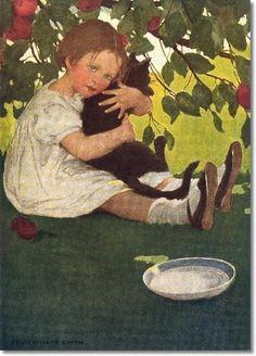 Jessie Wilcox Smith illustration, I Love Little Kitty Cat American Illustration, Children's Book Illustration, Jessie Willcox Smith, She And Her Cat, Little Kitty, Vintage Children, Cat Art, Illustrations Posters, Vintage Illustrations