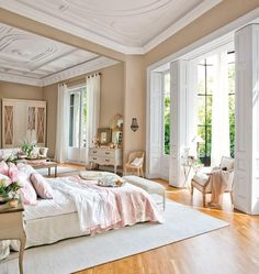 Love the soft flowing white drapery in this white and pink feminine bedroom. Gorgeous! interior design ideas ~ home decor ~ window treatments ~ dream homes