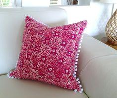 Pom Pom Cushions Fuchsia Pink Pom Pom by IslandHomeEmporium