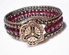 Beadwork Leather Cuff Bracelet Sesame Jasper with by RopesofPearls